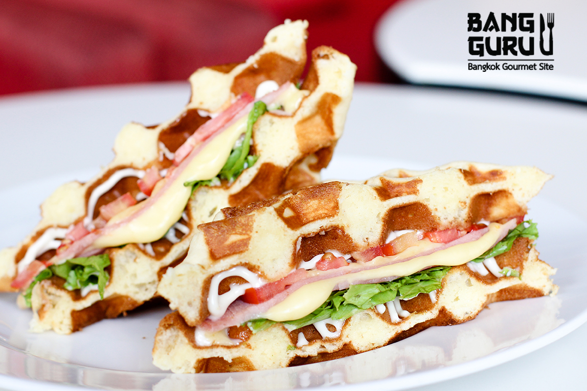 Ham and Cheese with homemade waffle