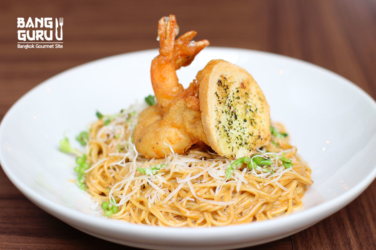 Capellini With Bisque Sauce and Battered Prawn